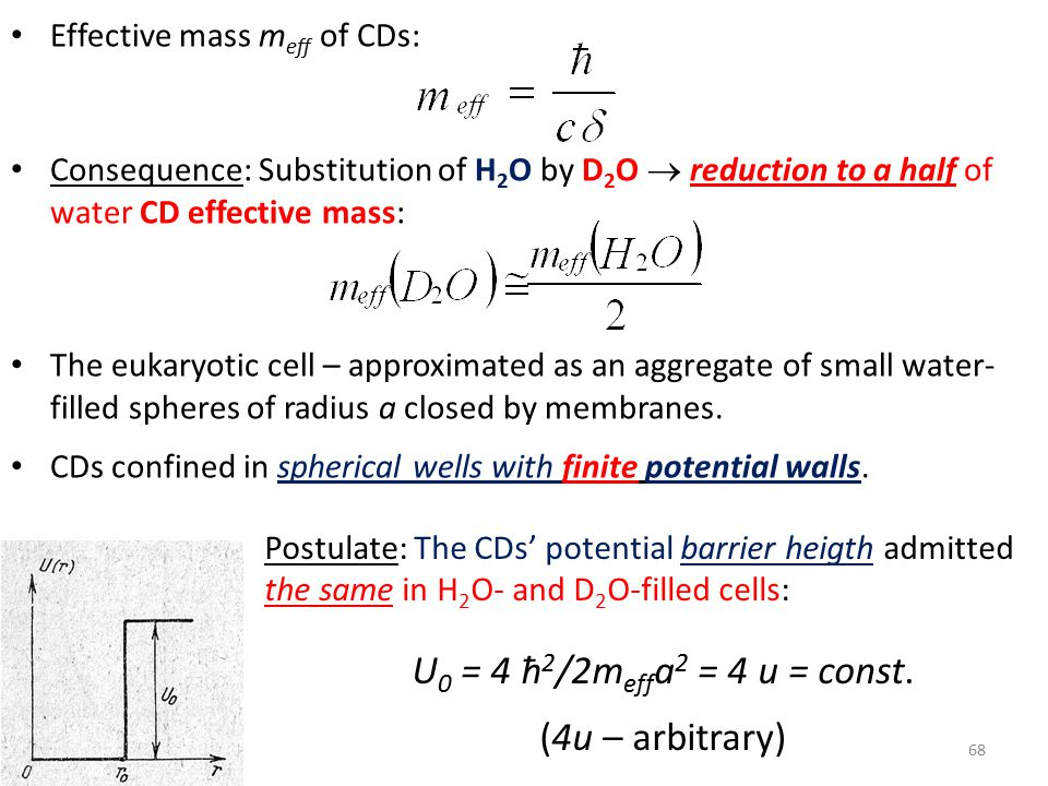Effective mass m eff of CDs: Consequence: Substitution of H 2 O by D 2 O  reduction to a half of water CD effective mass: The eukaryotic cell – approximated as an aggregate of small water- filled spheres of radius a closed by membranes.