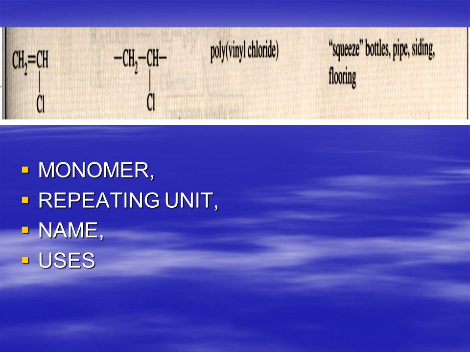  MONOMER,  REPEATING UNIT,  NAME,  USES