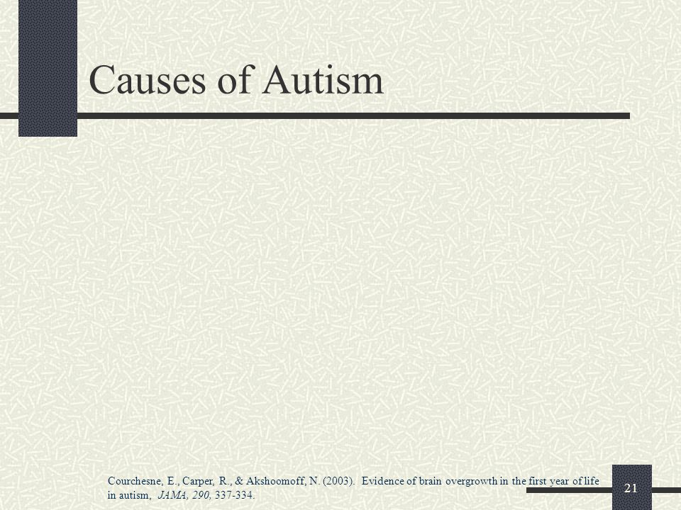 21 Causes of Autism Courchesne, E., Carper, R., & Akshoomoff, N. (2003). Evidence of brain overgrowth in the first year of life in autism, JAMA, 290,