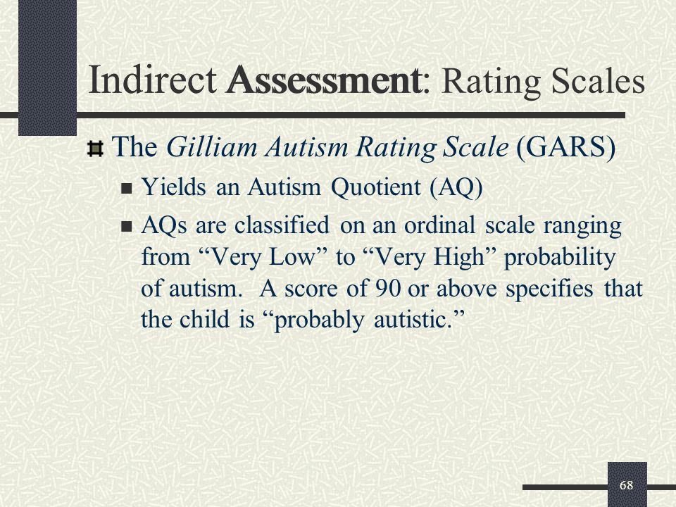 "68 Indirect Assessment The Gilliam Autism Rating Scale (GARS) Yields an Autism Quotient (AQ) AQs are classified on an ordinal scale ranging from ""Very"
