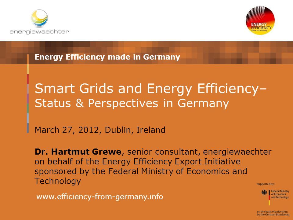 Energy Efficiency made in Germany www.efficiency-from-germany.info Smart Grids and Energy Efficiency– Status & Perspectives in Germany March 27, 2012, Dublin, Ireland Dr.