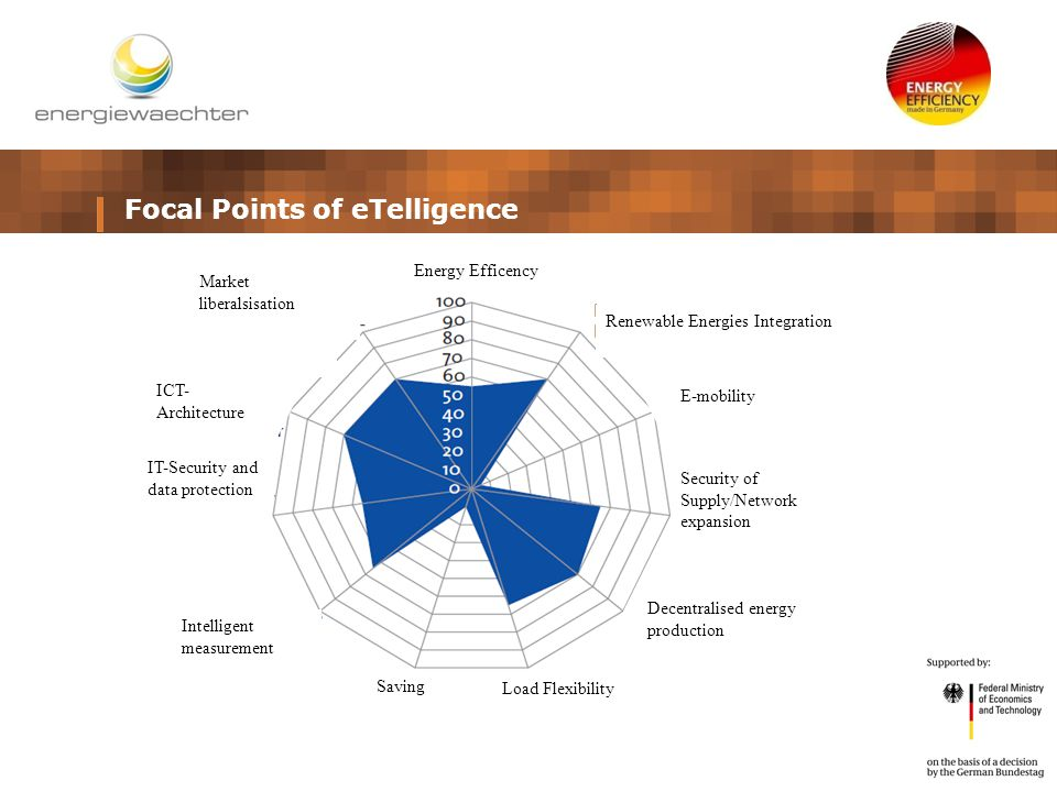 Focal Points of eTelligence Energy Efficency Market liberalsisation Renewable Energies Integration E-mobility ICT- Architecture IT-Security and data protection Intelligent measurement Saving Load Flexibility Decentralised energy production Security of Supply/Network expansion