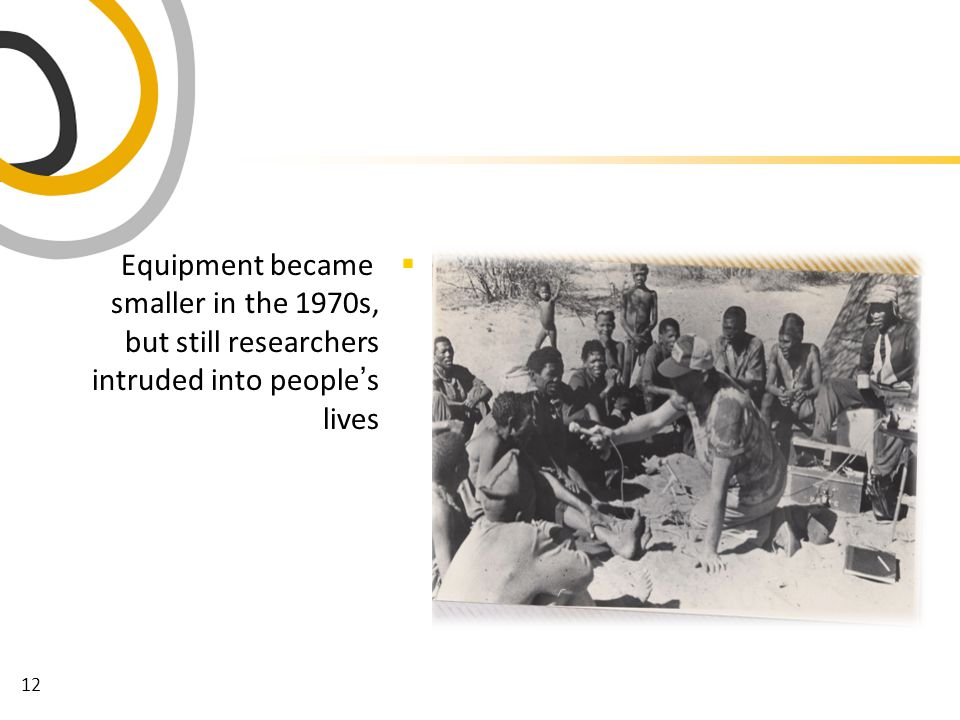 12  Equipment became smaller in the 1970s, but still researchers intruded into people ' s lives