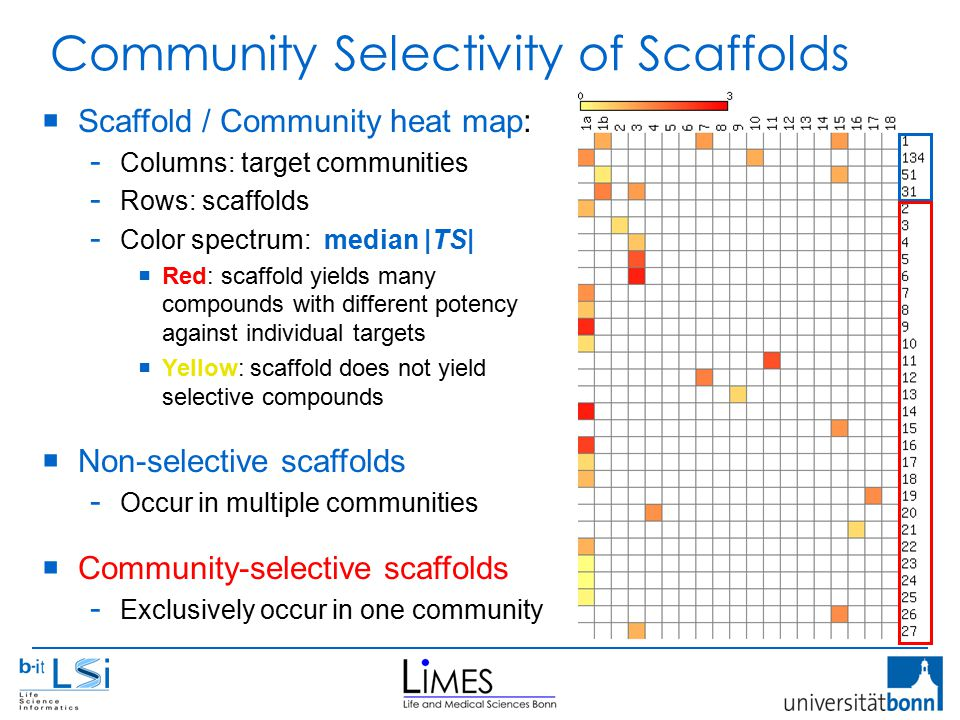 Community Selectivity of Scaffolds  Scaffold / Community heat map: - Columns: target communities - Rows: scaffolds - Color spectrum: median |TS|  Red: scaffold yields many compounds with different potency against individual targets  Yellow: scaffold does not yield selective compounds  Non-selective scaffolds - Occur in multiple communities  Community-selective scaffolds - Exclusively occur in one community