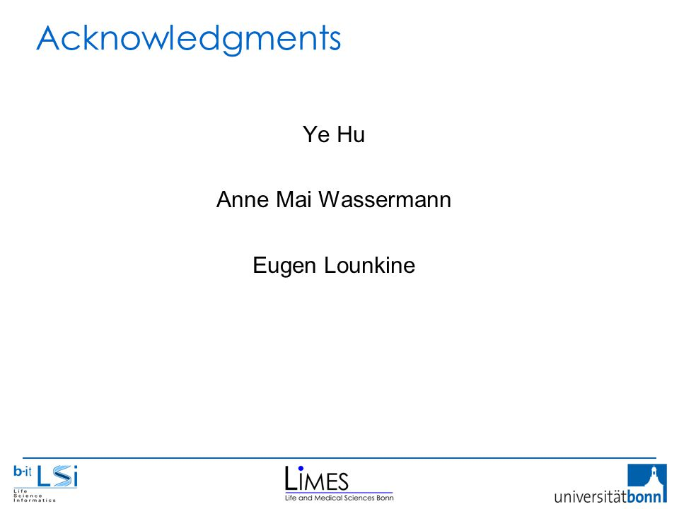Acknowledgments Ye Hu Anne Mai Wassermann Eugen Lounkine