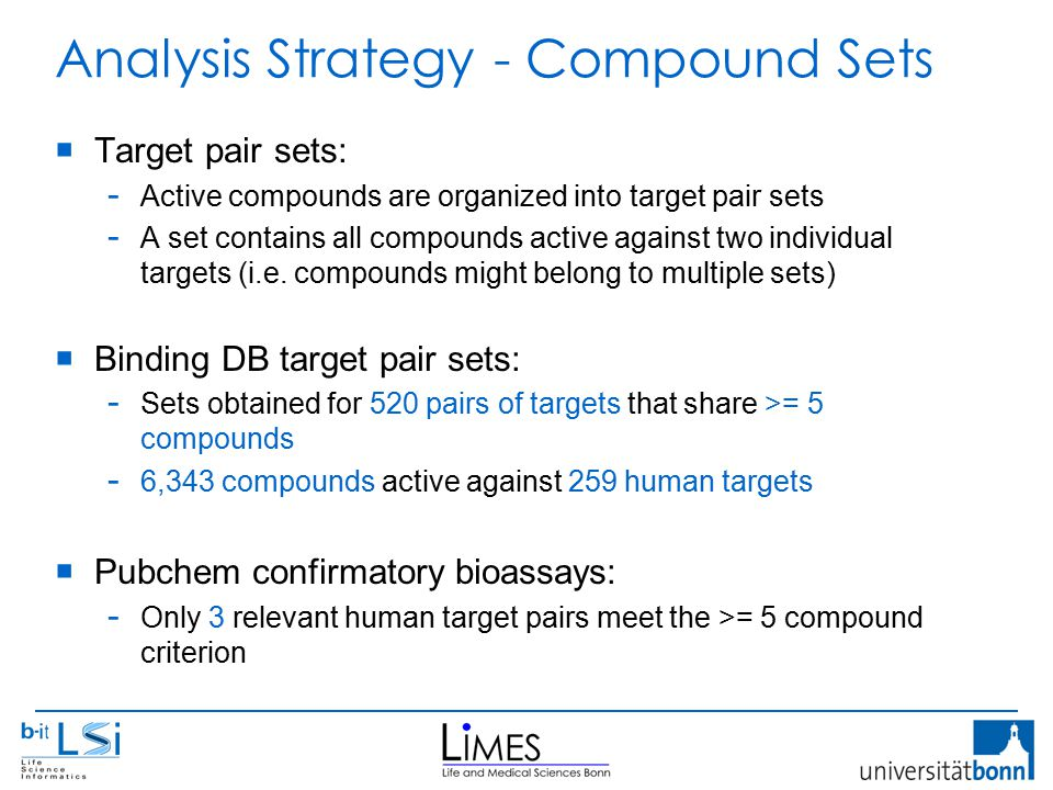 Analysis Strategy - Compound Sets  Target pair sets: - Active compounds are organized into target pair sets - A set contains all compounds active against two individual targets (i.e.