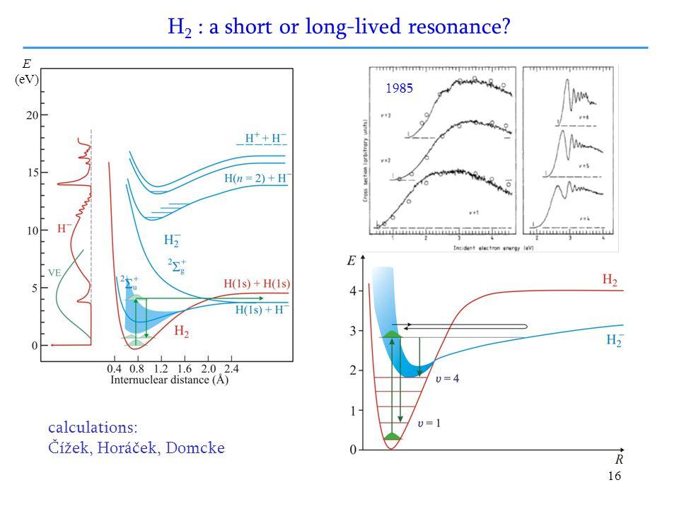 16 E (eV) H 2 : a short or long-lived resonance? 1985 calculations: Čížek, Horáček, Domcke