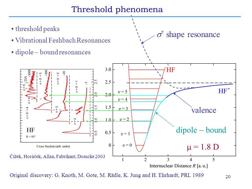 20 threshold peaks Vibrational Feshbach Resonances dipole – bound resonances  * shape resonance valence dipole  bound Čížek, Horáček, Allan, Fabrikant, Domcke 2003  =  D Threshold phenomena Original discovery: G.