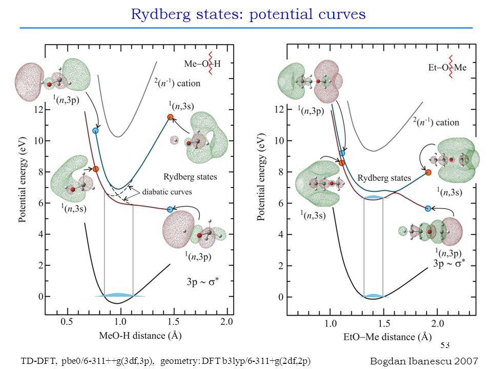 53 Bogdan Ibanescu 2007 TD-DFT, pbe0/6-311++g(3df,3p), geometry: DFT b3lyp/6-311+g(2df,2p) Rydberg states: potential curves