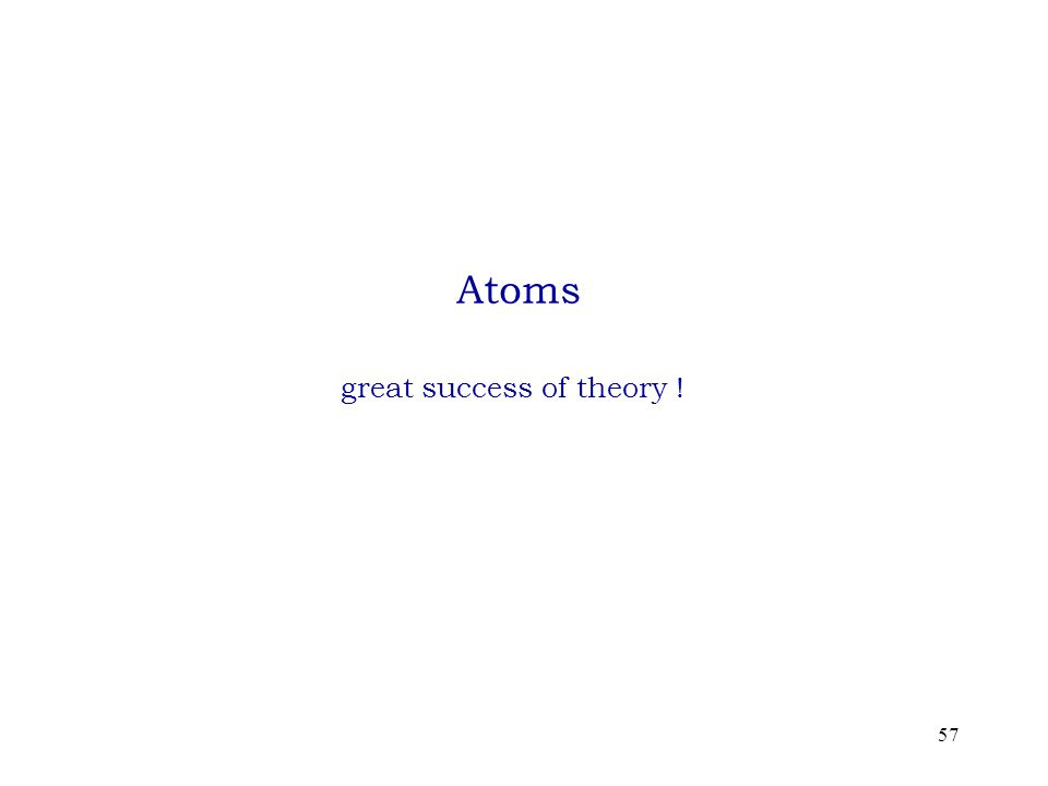 57 Atoms great success of theory !