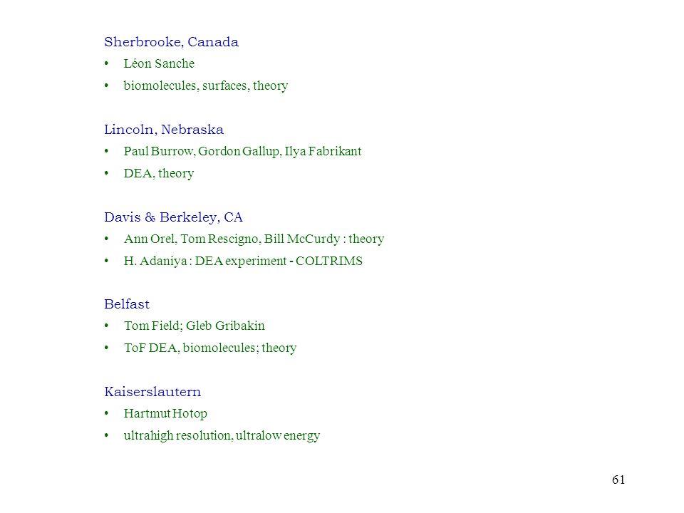61 Sherbrooke, Canada Léon Sanche biomolecules, surfaces, theory Lincoln, Nebraska Paul Burrow, Gordon Gallup, Ilya Fabrikant DEA, theory Davis & Berkeley, CA Ann Orel, Tom Rescigno, Bill McCurdy : theory H.
