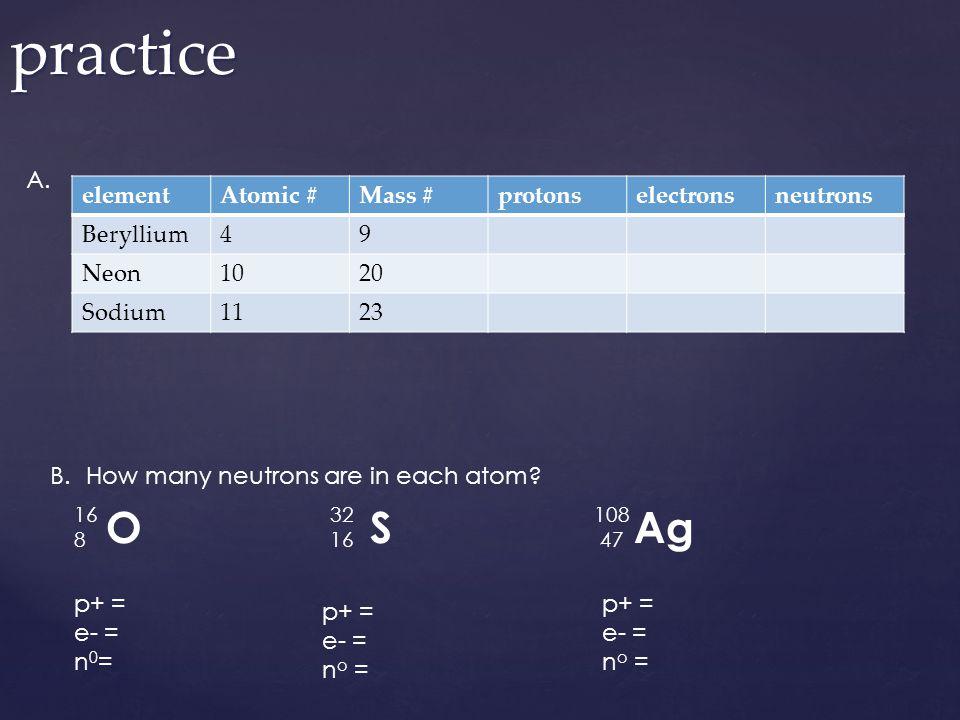 elementAtomic #Mass #protonselectronsneutrons Beryllium49 Neon1020 Sodium1123practice A. B.How many neutrons are in each atom? 16 8 O 32 16 S 108 47 A