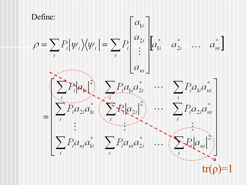 tr(ρ)=1 Define: