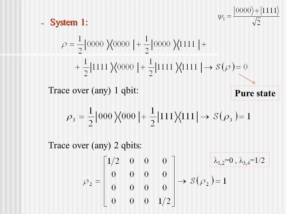 – System 1: Trace over (any) 1 qbit: Trace over (any) 2 qbits: Pure state λ 1,2 =0, λ 3,4 =1/2