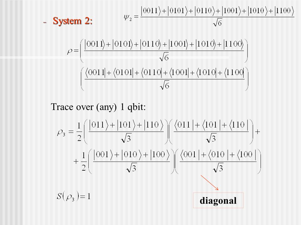 – System 2: Trace over (any) 1 qbit: diagonal