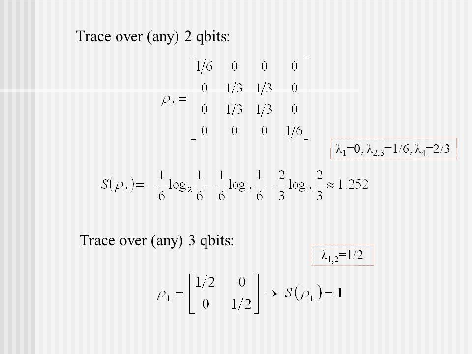 Trace over (any) 2 qbits: Trace over (any) 3 qbits: λ 1 =0, λ 2,3 =1/6, λ 4 =2/3 λ 1,2 =1/2
