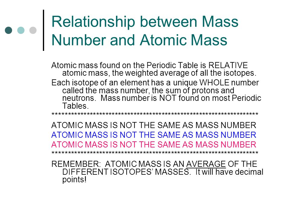 Relationship between Mass Number and Atomic Mass Atomic mass found on the Periodic Table is RELATIVE atomic mass, the weighted average of all the isotopes.