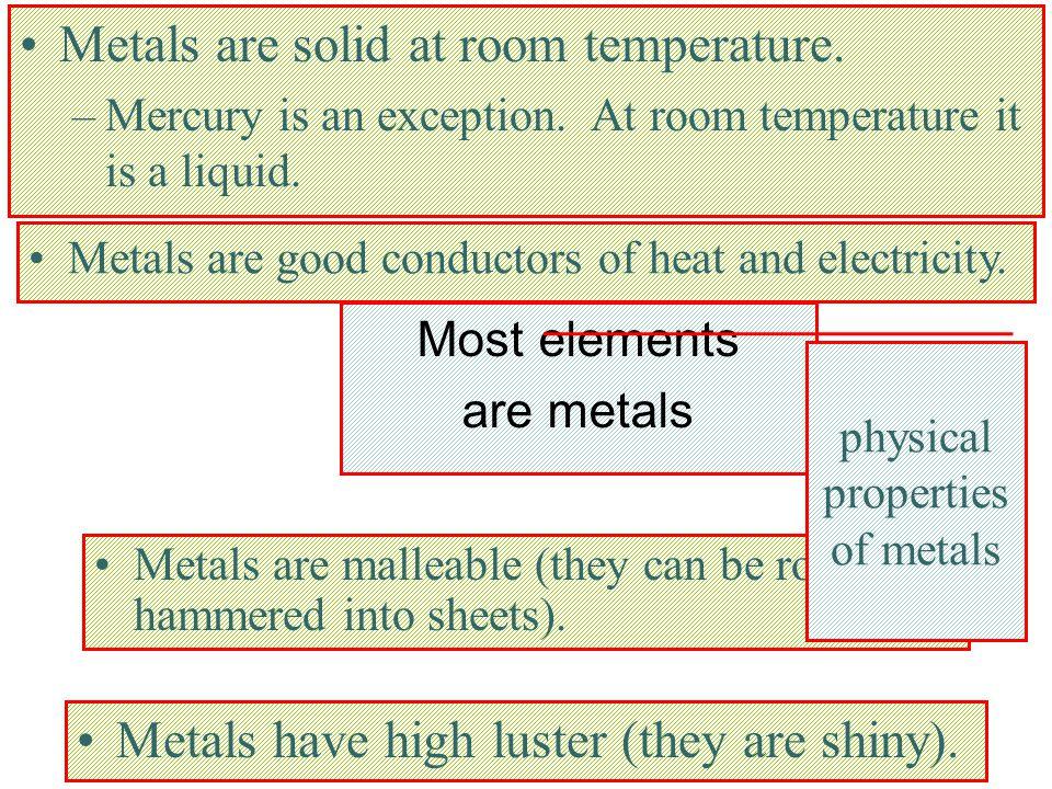 Most elements are metals Metals are solid at room temperature.