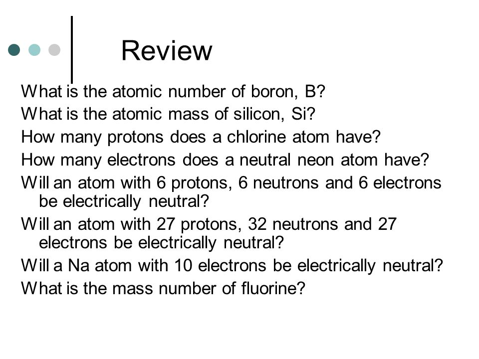 Review What is the atomic number of boron, B.What is the atomic mass of silicon, Si.