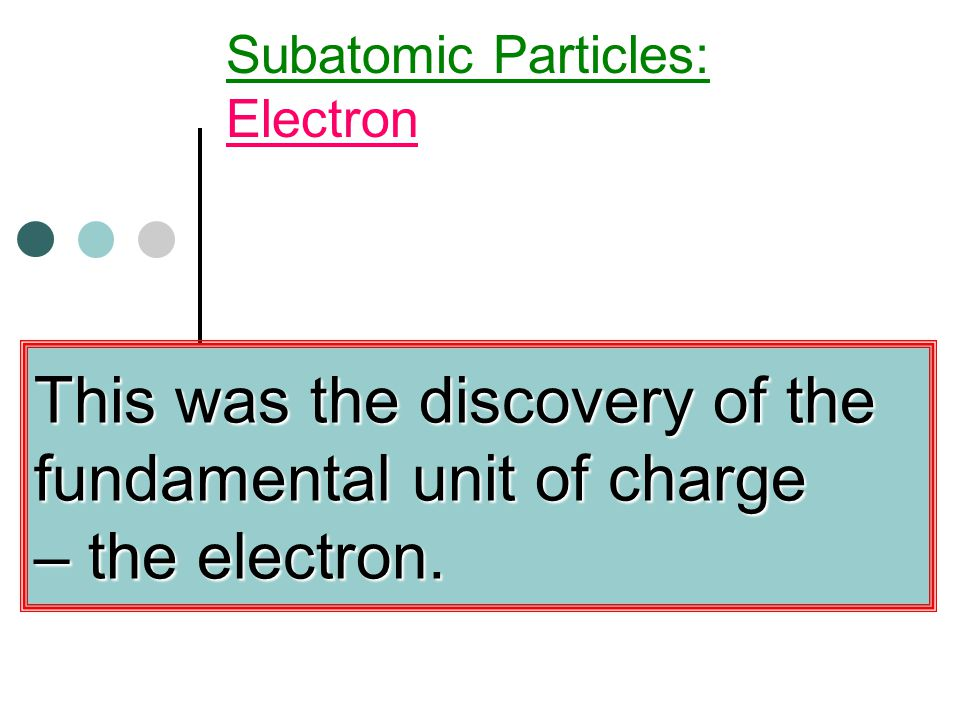 This was the discovery of the fundamental unit of charge – the electron.