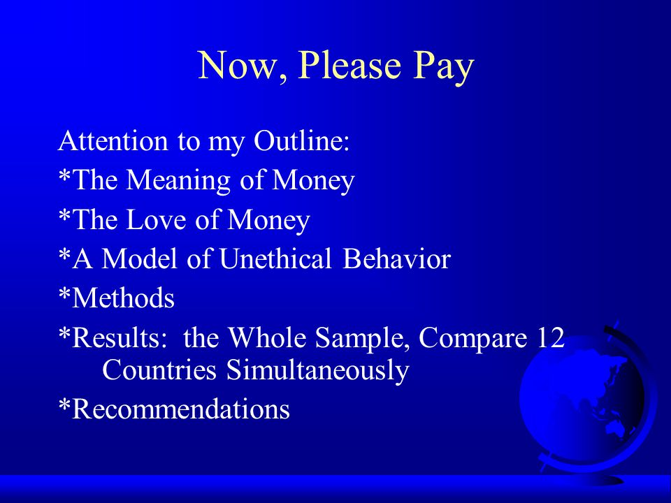 The Meaning of Money Money always represents or signifies something other than itself (Crump, 1981).