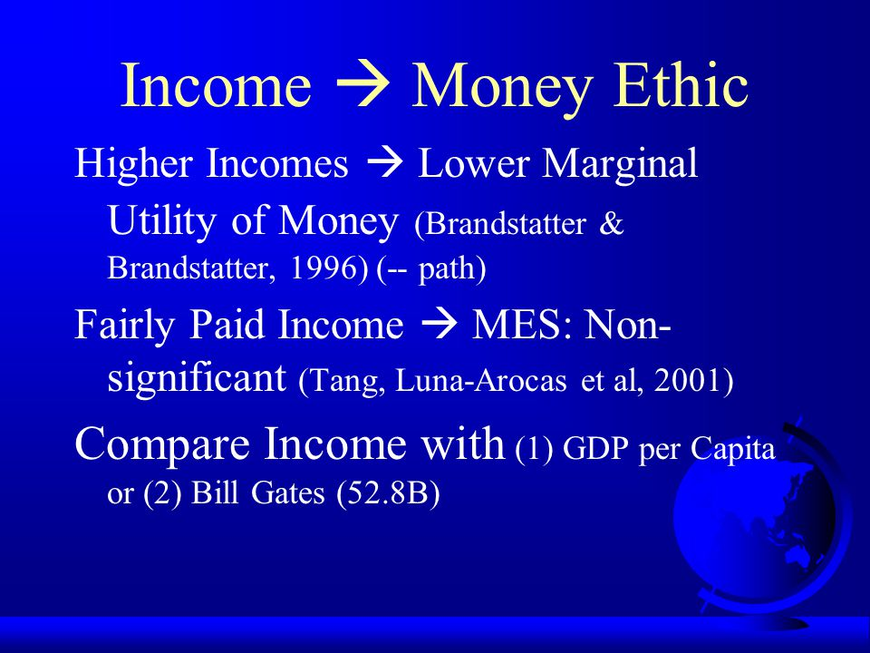 Income  Money Ethic Inverted U: +, 0, -- Unsatisfied needs are important, satisfied needs are not (Alderfer, 1971; Maslow, 1970) Financial Hardship 