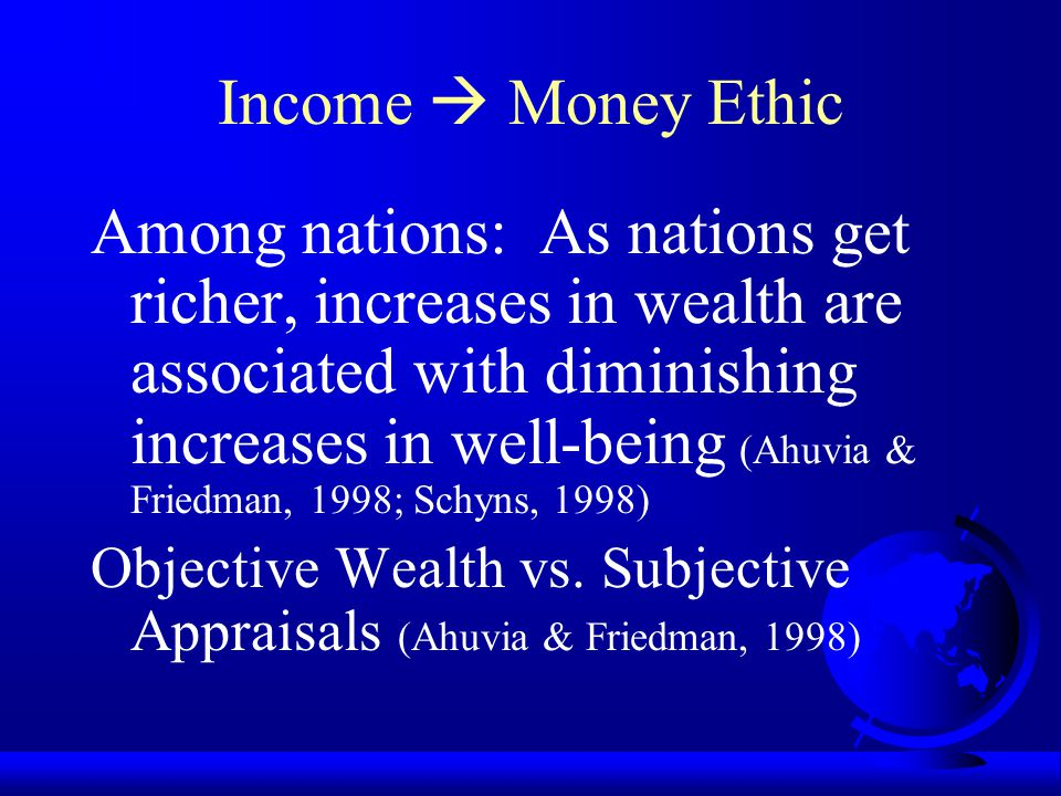 Income  Money Ethic Higher Incomes  Lower Marginal Utility of Money (Brandstatter & Brandstatter, 1996) (-- path) Fairly Paid Income  MES: Non- sig