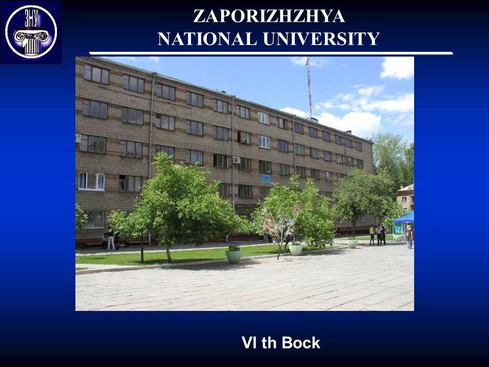 ZAPORIZHZHYA NATIONAL UNIVERSITY VI th Bock
