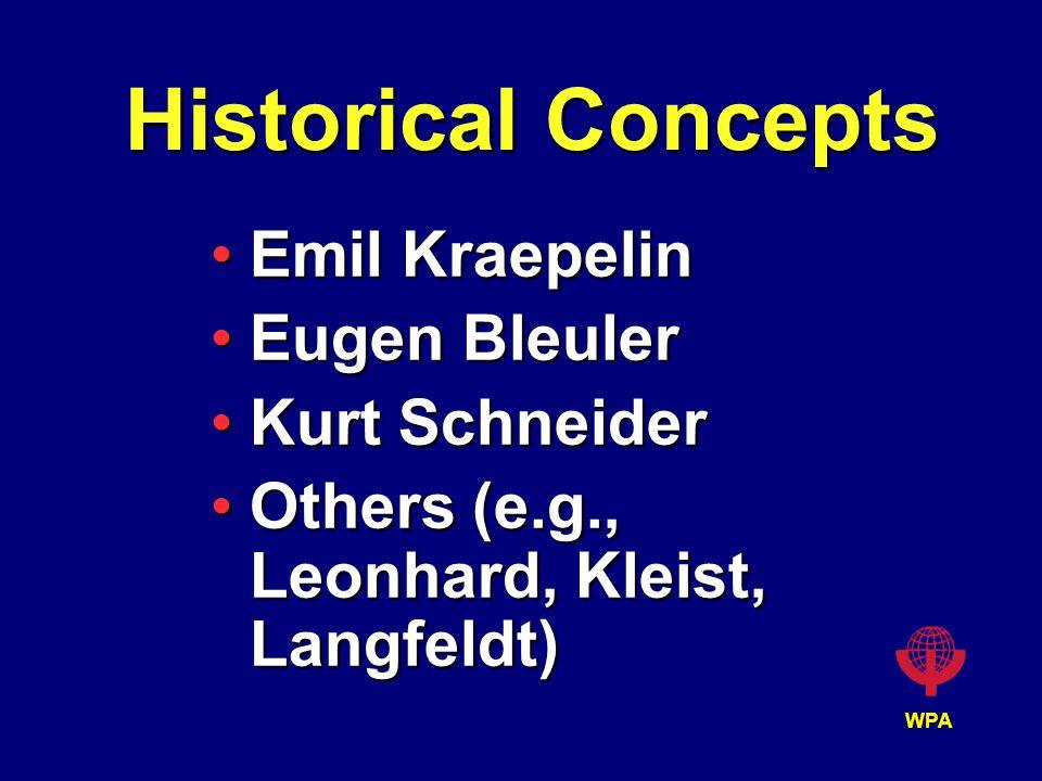 WPA Historical Concepts Emil KraepelinEmil Kraepelin Eugen BleulerEugen Bleuler Kurt SchneiderKurt Schneider Others (e.g., Leonhard, Kleist, Langfeldt)Others (e.g., Leonhard, Kleist, Langfeldt)