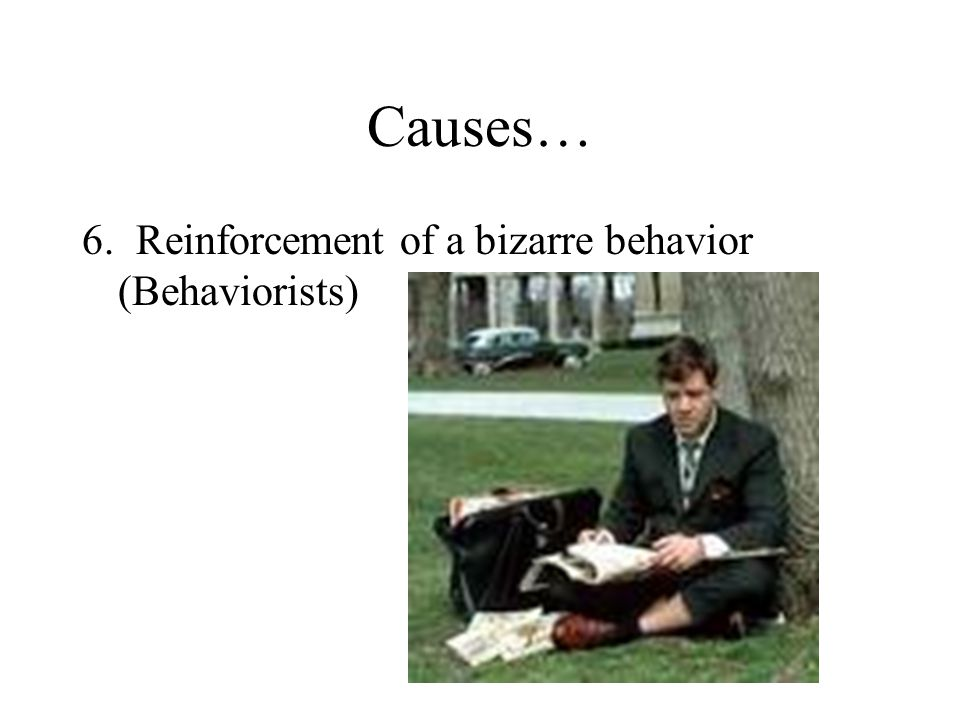 Causes… 6. Reinforcement of a bizarre behavior (Behaviorists)