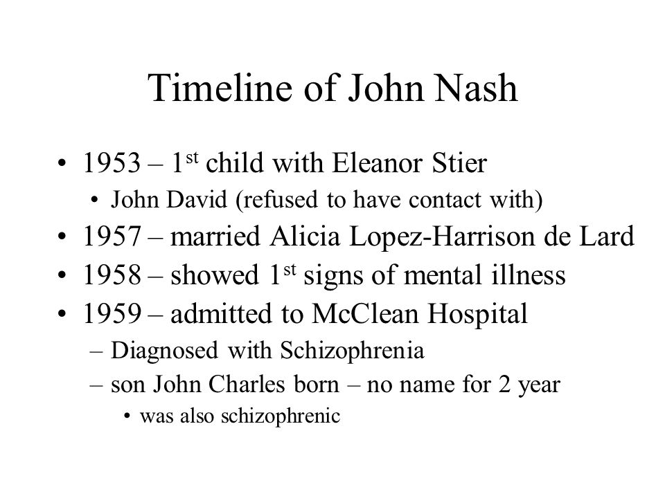 Timeline of John Nash 1953 – 1 st child with Eleanor Stier John David (refused to have contact with) 1957 – married Alicia Lopez-Harrison de Lard 1958
