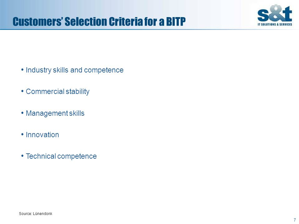 8 Customer Expectations for BITP Providers Source: Lünendonk Expected skills from Complete BITP Service Providers Values stated in % (listed in accordance with number of times mentioned - multiple answers possible)