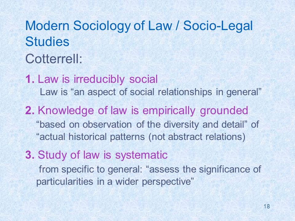 18 Modern Sociology of Law / Socio-Legal Studies Cotterrell: 1.