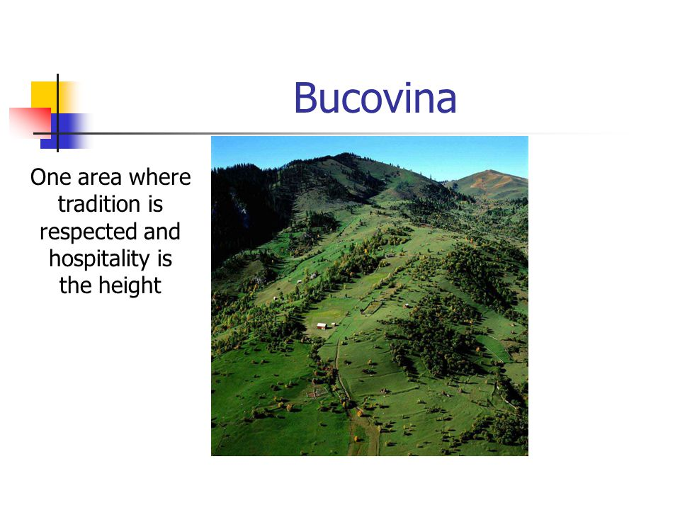 Bucovina One area where tradition is respected and hospitality is the height
