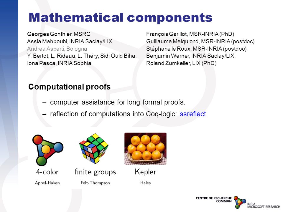 Mathematical components Computational proofs –computer assistance for long formal proofs.