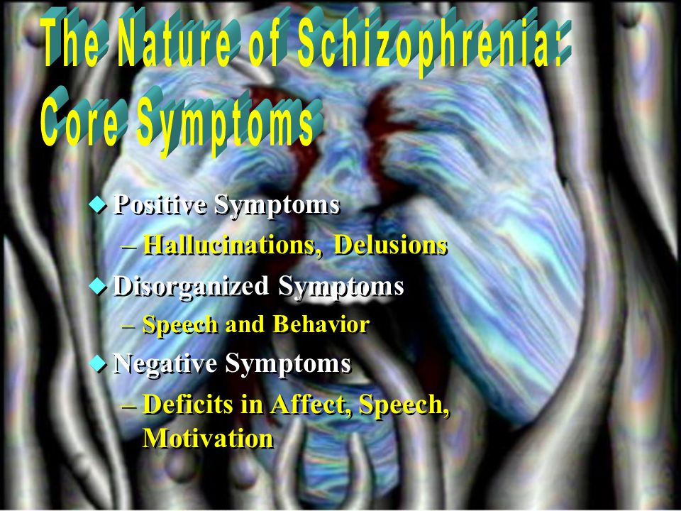  Positive Symptoms –Hallucinations, Delusions  Disorganized Symptoms –Speech and Behavior  Negative Symptoms –Deficits in Affect, Speech, Motivation  Positive Symptoms –Hallucinations, Delusions  Disorganized Symptoms –Speech and Behavior  Negative Symptoms –Deficits in Affect, Speech, Motivation