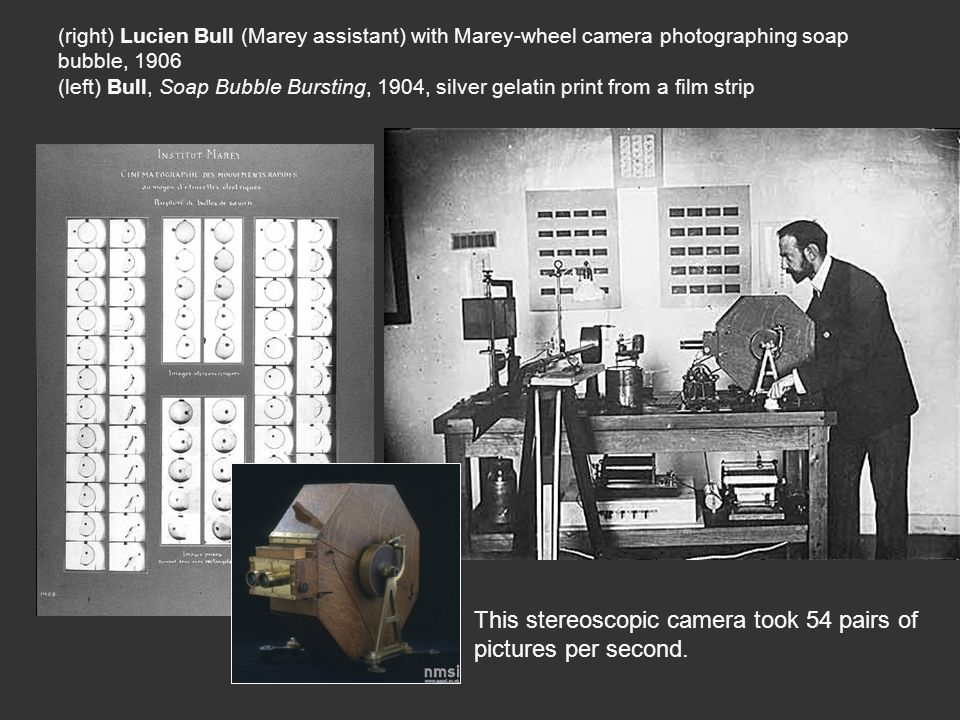 (right) Lucien Bull (Marey assistant) with Marey-wheel camera photographing soap bubble, 1906 (left) Bull, Soap Bubble Bursting, 1904, silver gelatin print from a film strip This stereoscopic camera took 54 pairs of pictures per second.