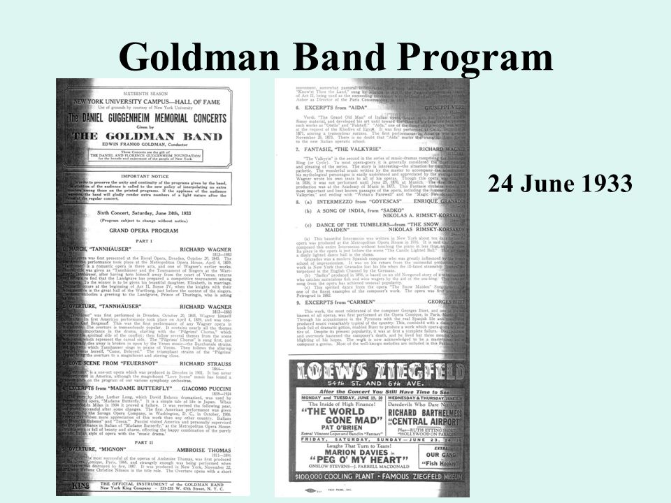Goldman Band Program 24 June 1933