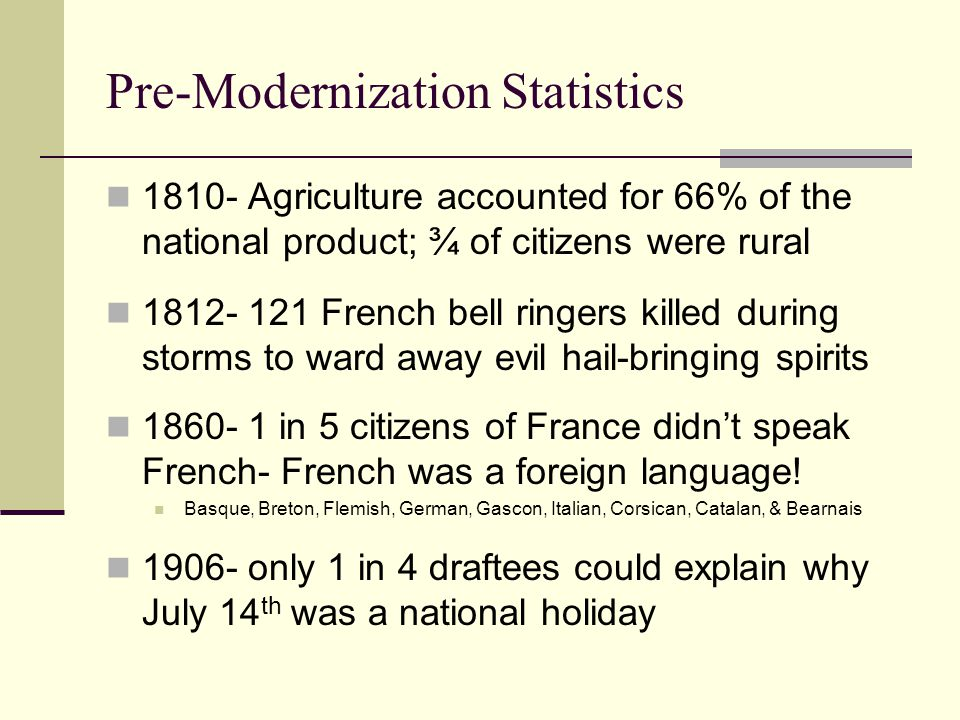 Pre-Modernization Statistics 1810- Agriculture accounted for 66% of the national product; ¾ of citizens were rural 1812- 121 French bell ringers kille