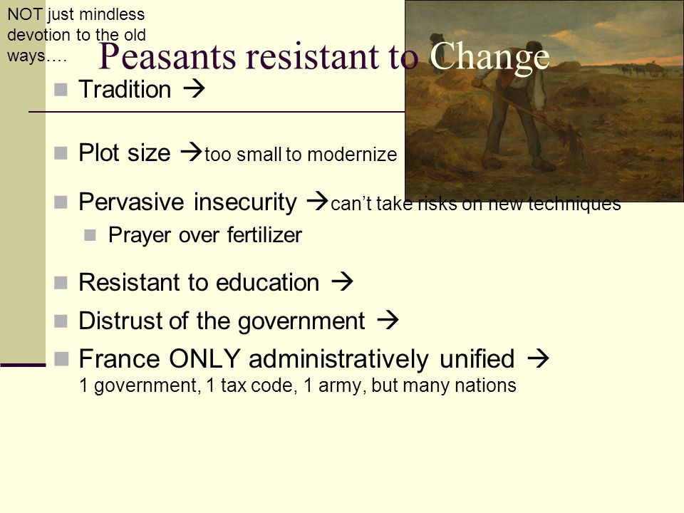 Peasants resistant to Change Tradition  Plot size  too small to modernize Pervasive insecurity  can't take risks on new techniques Prayer over fert