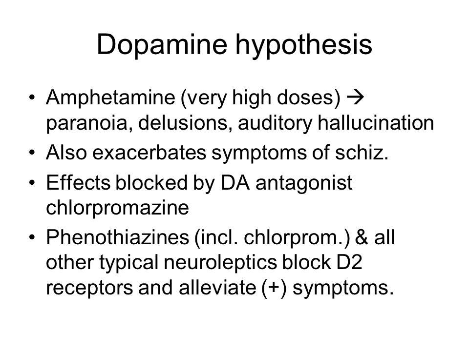Dopamine hypothesis Amphetamine (very high doses)  paranoia, delusions, auditory hallucination Also exacerbates symptoms of schiz.