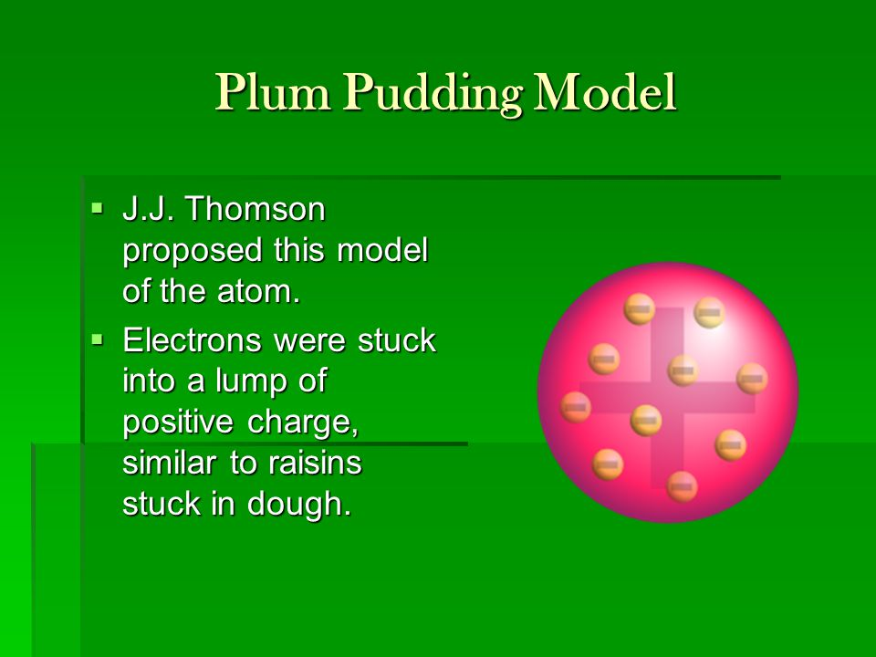 Plum Pudding Model  J.J. Thomson proposed this model of the atom.  Electrons were stuck into a lump of positive charge, similar to raisins stuck in