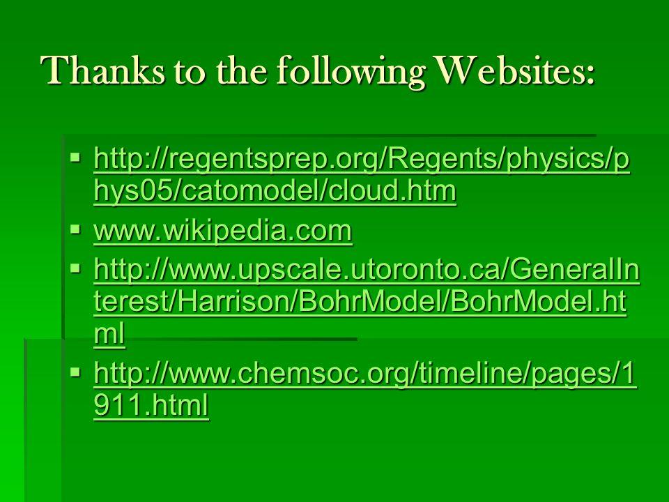 Thanks to the following Websites:  http://regentsprep.org/Regents/physics/p hys05/catomodel/cloud.htm http://regentsprep.org/Regents/physics/p hys05/