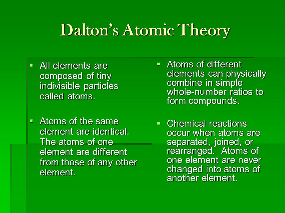 Dalton's Atomic Theory  All elements are composed of tiny indivisible particles called atoms.  Atoms of the same element are identical. The atoms of