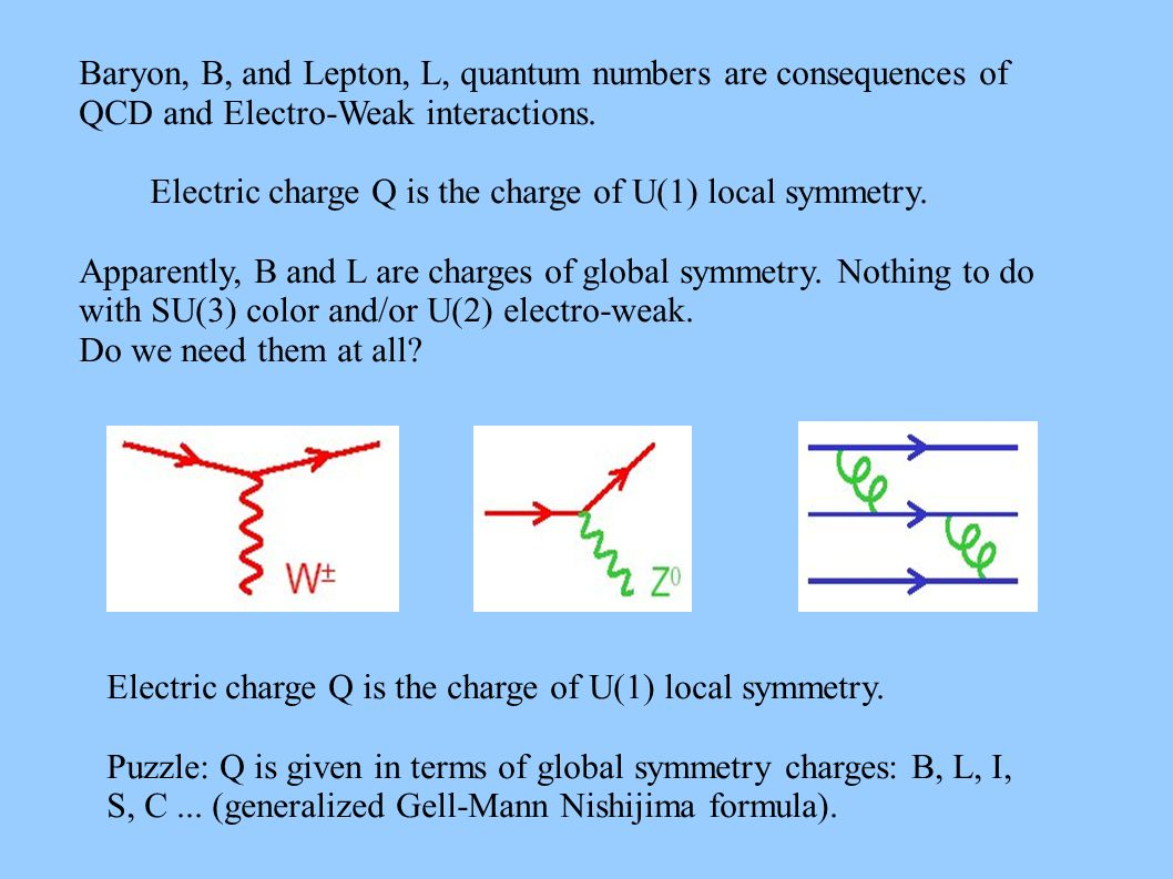 Baryon, B, and Lepton, L, quantum numbers are consequences of QCD and Electro-Weak interactions.