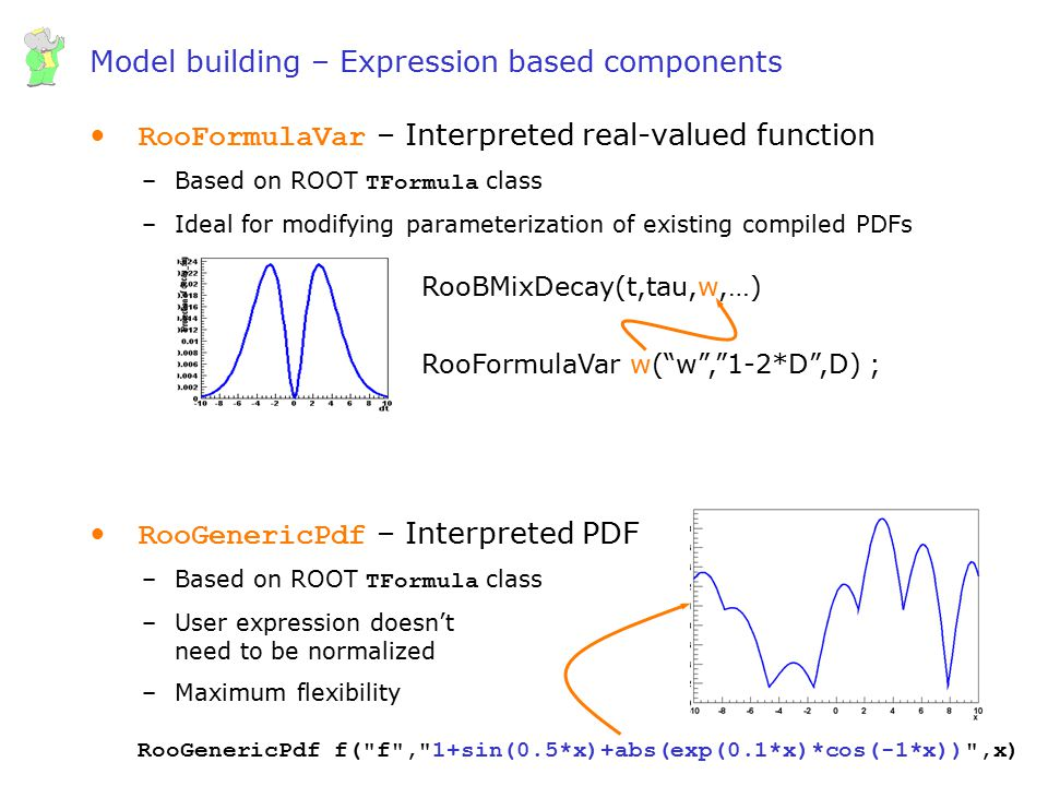 Wouter Verkerke, UCSB Model building – Expression based components RooFormulaVar – Interpreted real-valued function –Based on ROOT TFormula class –Ide