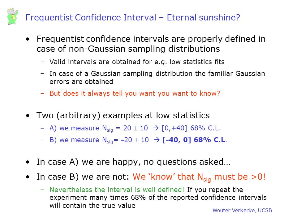 Wouter Verkerke, UCSB Frequentist Confidence Interval – Eternal sunshine? Frequentist confidence intervals are properly defined in case of non-Gaussia