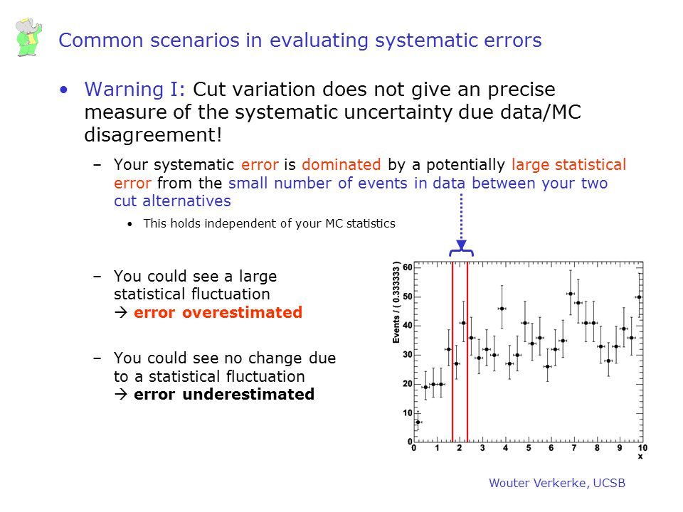 Wouter Verkerke, UCSB Common scenarios in evaluating systematic errors Warning I: Cut variation does not give an precise measure of the systematic unc