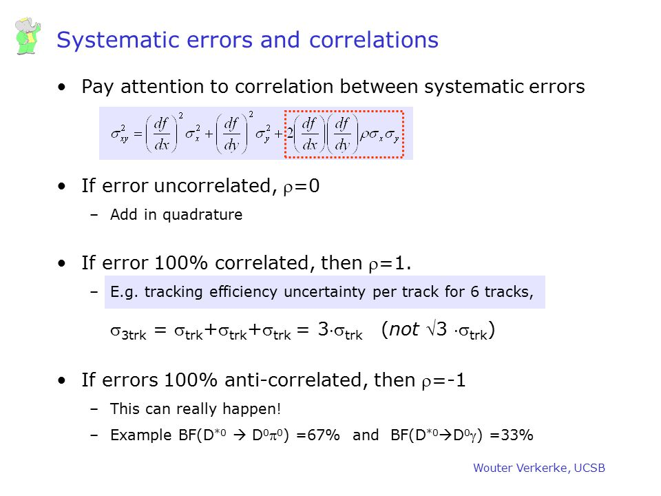 Wouter Verkerke, UCSB Systematic errors and correlations Pay attention to correlation between systematic errors If error uncorrelated, =0 –Add in qua