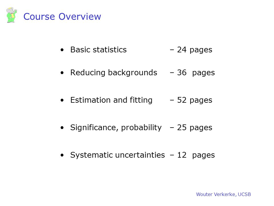 Wouter Verkerke, UCSB The End This course will be available at Some material for further reading –R.